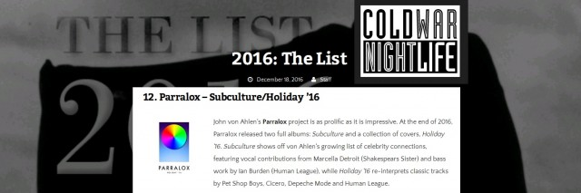 "Parralox in Cold War Night Life's ""Top 16"" List for 2016"